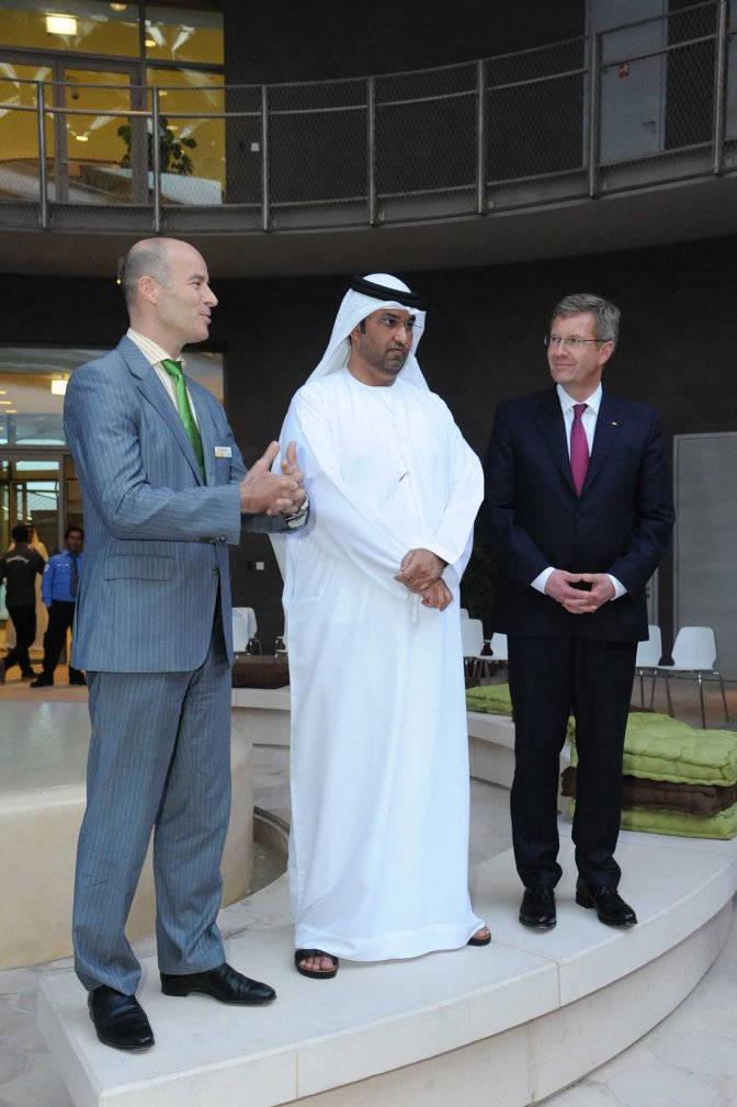 Addressing German delegation led by German President Christian Wulff together with Dr. Sultan Al Jaber
