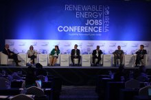 Frank Wouters Moderating a session at IRENA's Jobs Conference 2014